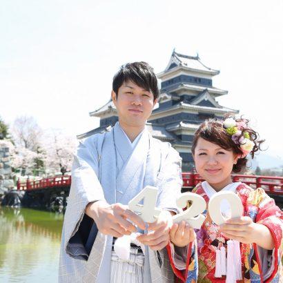 ロケ撮影 和装 松本城 桜