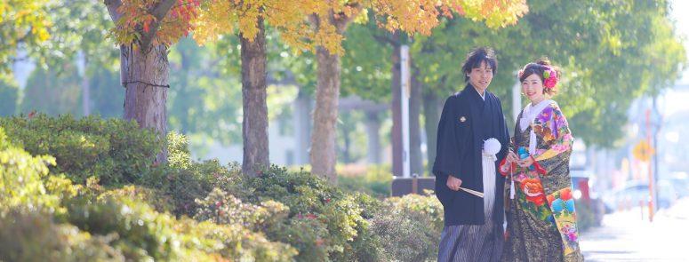 ロケ撮影 和装 芳川公園 紅葉